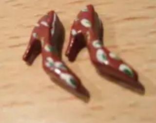 zapatos tacon flamenca miniatura escala 1/12