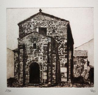 Grabado de Santa Cristina de Lena Asturias
