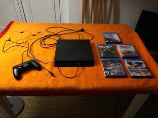 Playstation 4 con 5 juegos