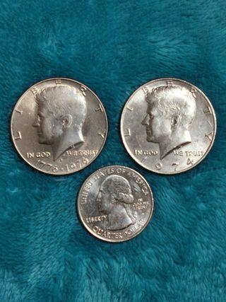 lote de monedas de 1/2 Y 1/4 de dolar