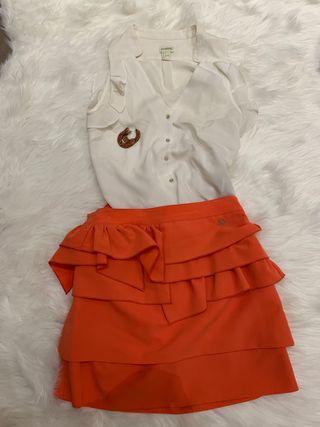 Conjunto Falda+ blusa + pendientes