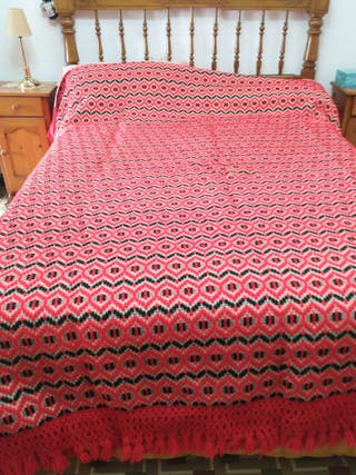 manta de lana tejida a mano en telar