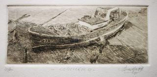 Grabado barco en el puerto de Cudillero Asturias