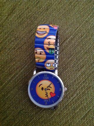 Reloj azul de emojis
