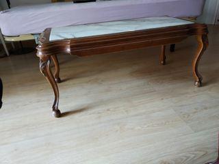 Mesa centro madera con mármol