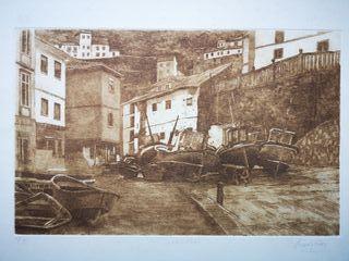 Grabado del puerto y pueblo de Cudillero.Asturias