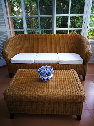 Conjunto sofá y mesa mimbre