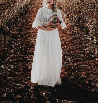 Vestido blanco de novia hecho a mano talla S-M