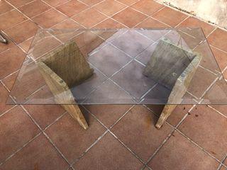 Mesa centro cristal y mármol