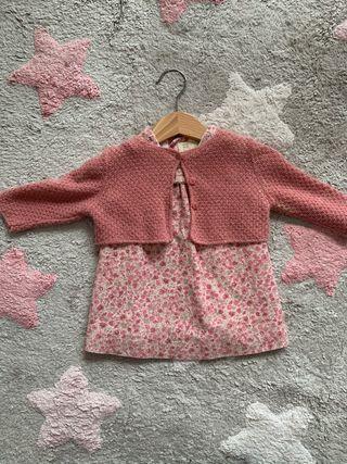 Conjunto Vestido rosa de flores (3-6 meses)