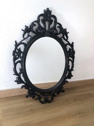 Espejo Ikea ovalado UNG DRILL negro