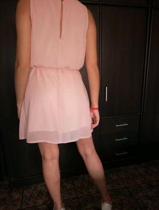 vestido formal rosa palo