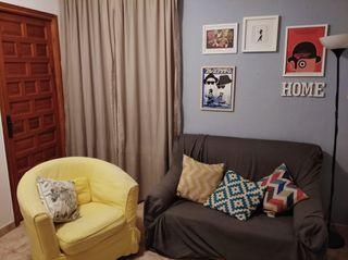 juego comedor, sofá, sillón y cortinas