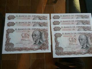 BILLETES DE 100 PESETAS DEL AÑO 1970 SIN CIRCULAR