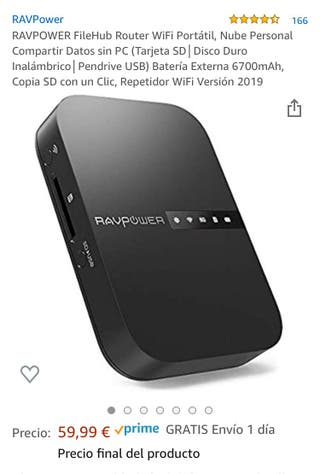RAVPOWER FileHub Router WiFi Portátil