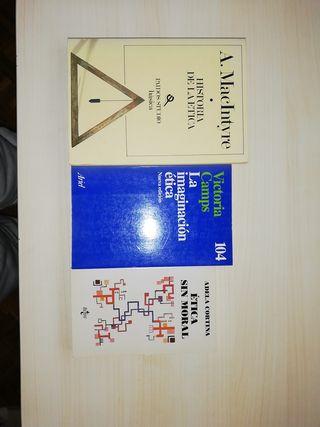 lote 3 libros de ética: MacIntyre, Camps y Cortina