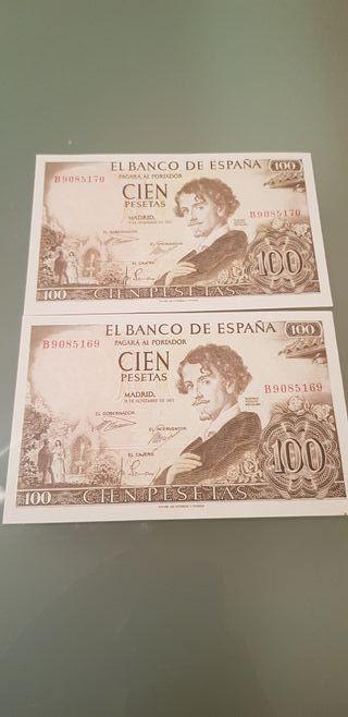 2 billetes correlativos 100 pts 1965 serie B