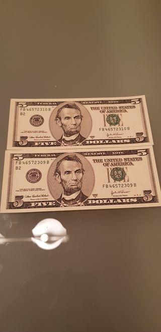 2 billetes consecutivos 5 dólares 2003