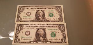 2 billetes usa 1 dollar 2006