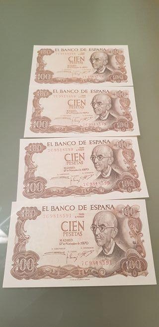 lote 4 billetes 100 pts 1970 correlativos
