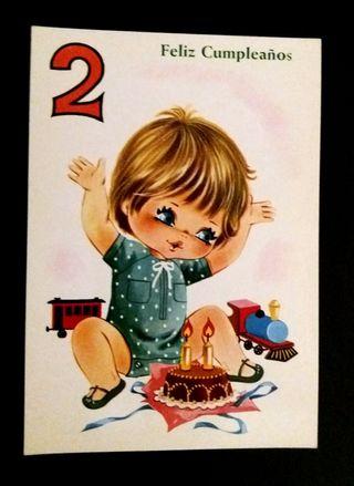 Postal Feliz cumpleaños 2 años 70/80
