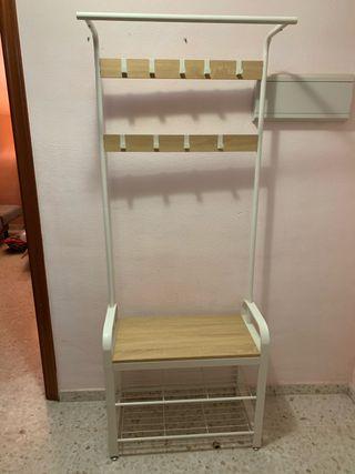Perchero mueble entrada blanco y madera