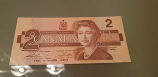 billete 2 dollar canada 1986
