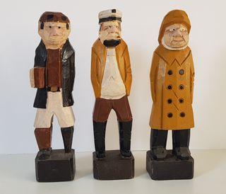 3 marineros de madera 25 cm