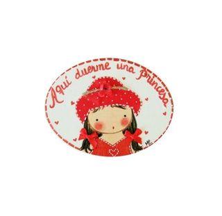 Placa con nombre Niña con Sombrero y Coletas