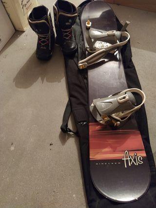 tabla, botas , fijaciones y funda