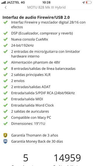 Tarjeta sonido, interfaz audio MOTU 828 hybrid mk3