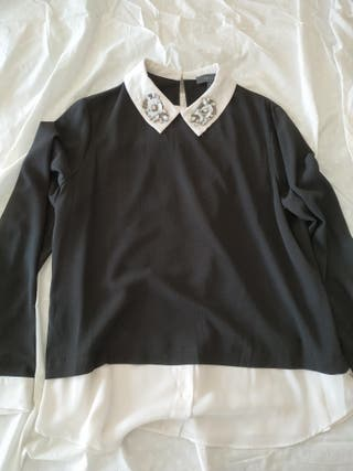 blusa primark en blanco y negro. t. 42.