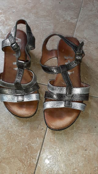 sandalia piel tacón goma talla 37
