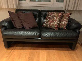 Conjunto de 2 sofás de piel de diseño italiano