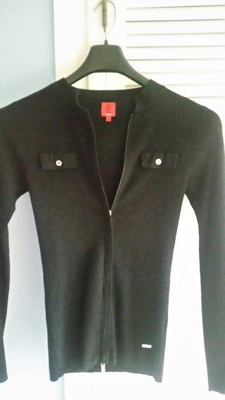 Jersey/rebeca de lana color negro