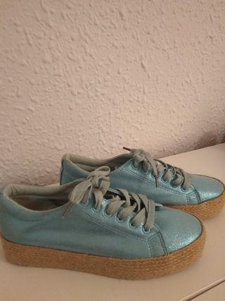 zapatillas turquesa metalizadas