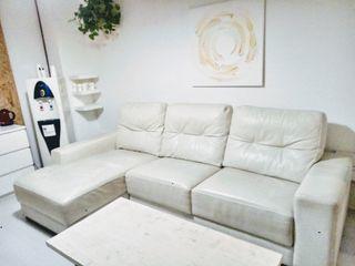 Hermoso Sofa de Piel 3 Plazas Esquinero Blanco