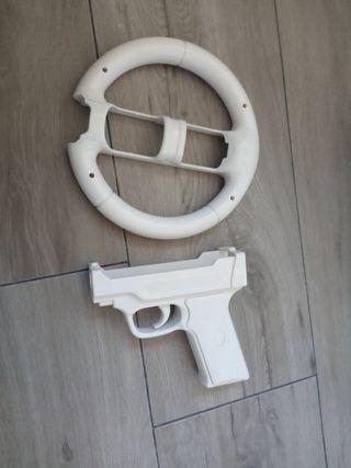 Volante y pistola Wii