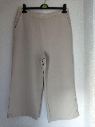 pantalón Zara ancho talla XL color crema nuevo