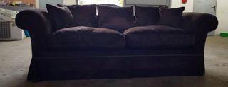 Sofá tres plazas terciopelo marrón