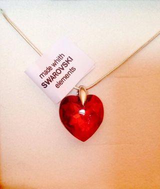 Joya fina corazon rojo/boreal Swarovski Elements