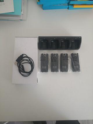 Cargador para 4 mandos wii u con batería incluida.