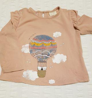 ZARA. Camiseta globo, rosa. T 18-24m.
