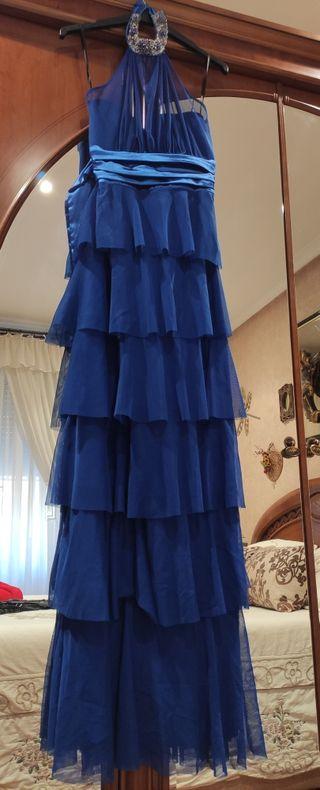 Vestido fiesta azul det cuello