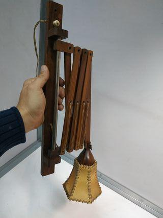 lampara aplique vintage original madera extensible