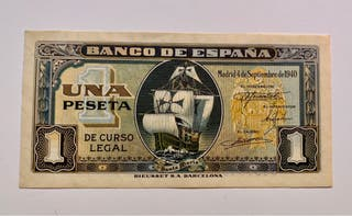 Billete 1 Peseta 1940 SC/SC- Santa Maria. Carabela