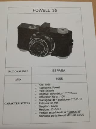 CÁMARA FOTOGRAFÍA FOWELL 35