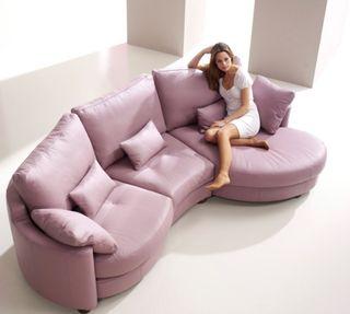 Sofá chaise longue de diseño de piel color Lila