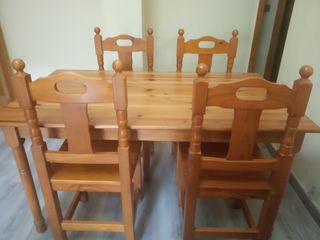 mesa y 4 sillas madera pino estilo provenzal