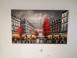 Precioso cuadro a oleó d Paris blanco & negro